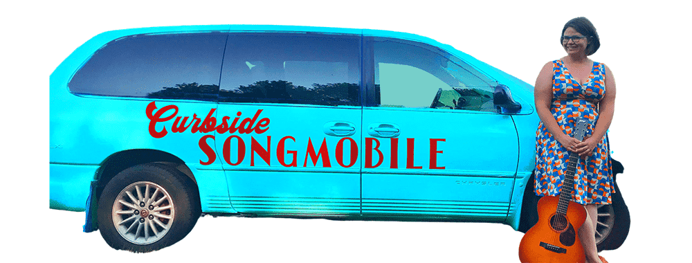 Katie and the blue Curbside Songmobile